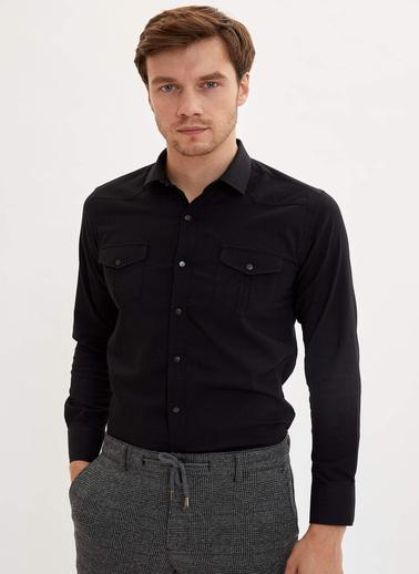 DeFacto Çift Cepli Slim Fit Gömlek Siyah